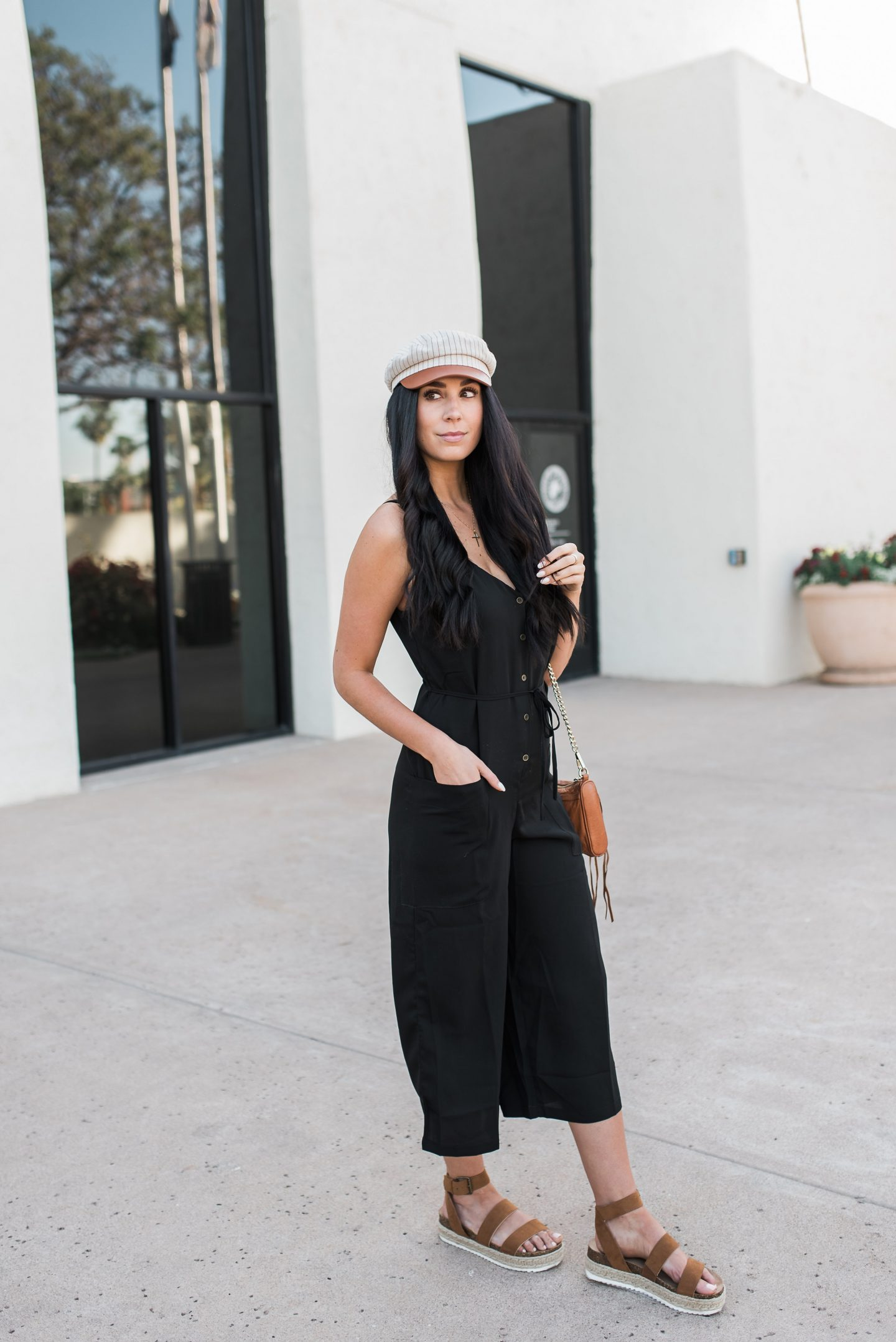 Black Jumpsuit + Baker Boy Cap